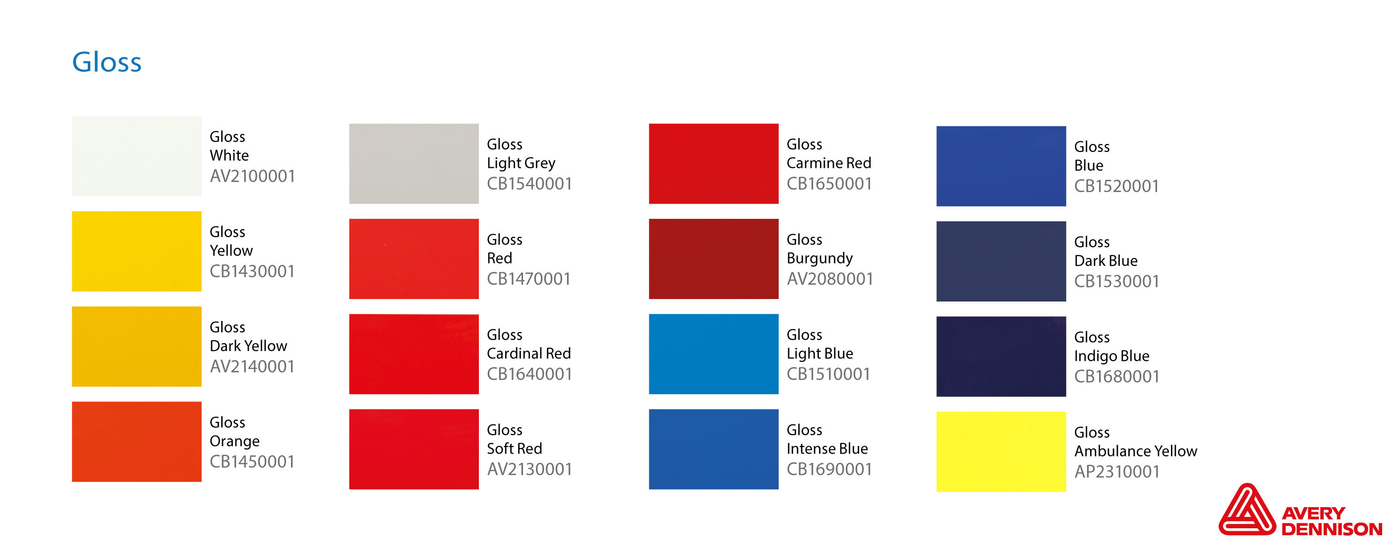 Avery vehicle wrap colour range 5