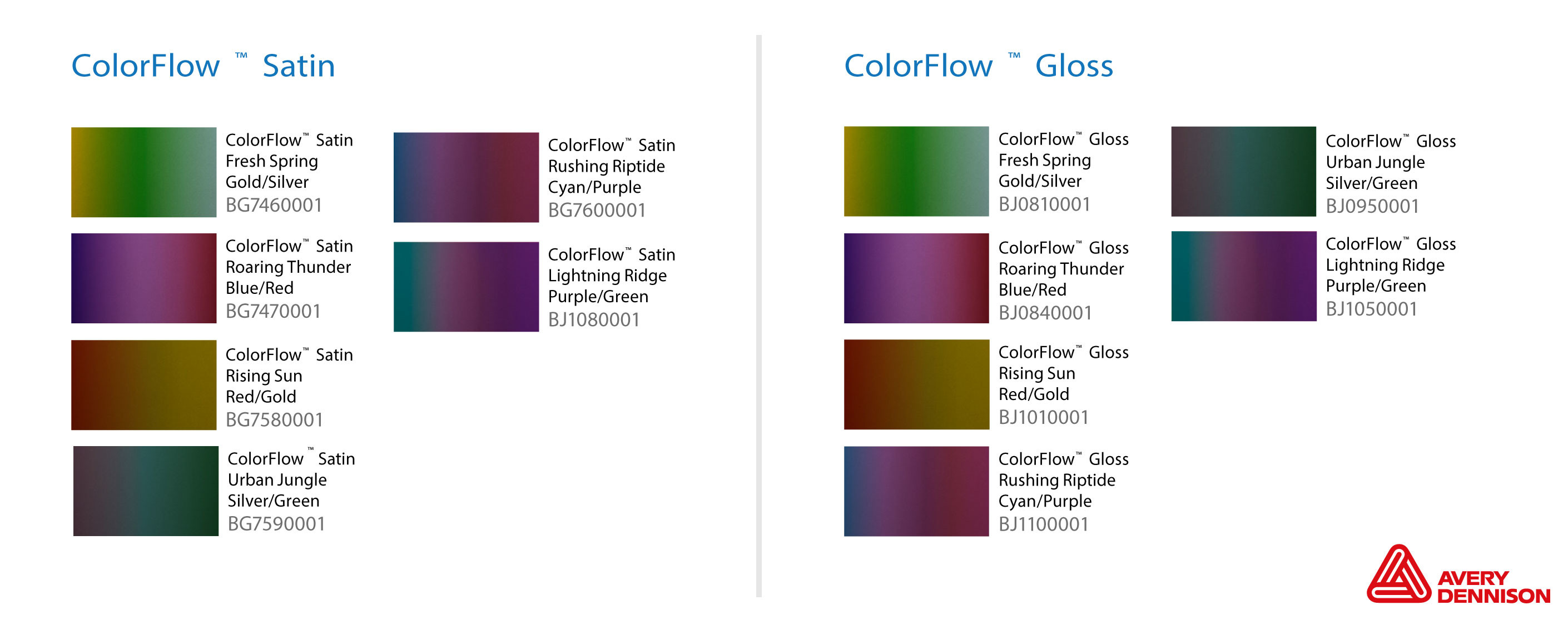Avery car wrap colour range color flow