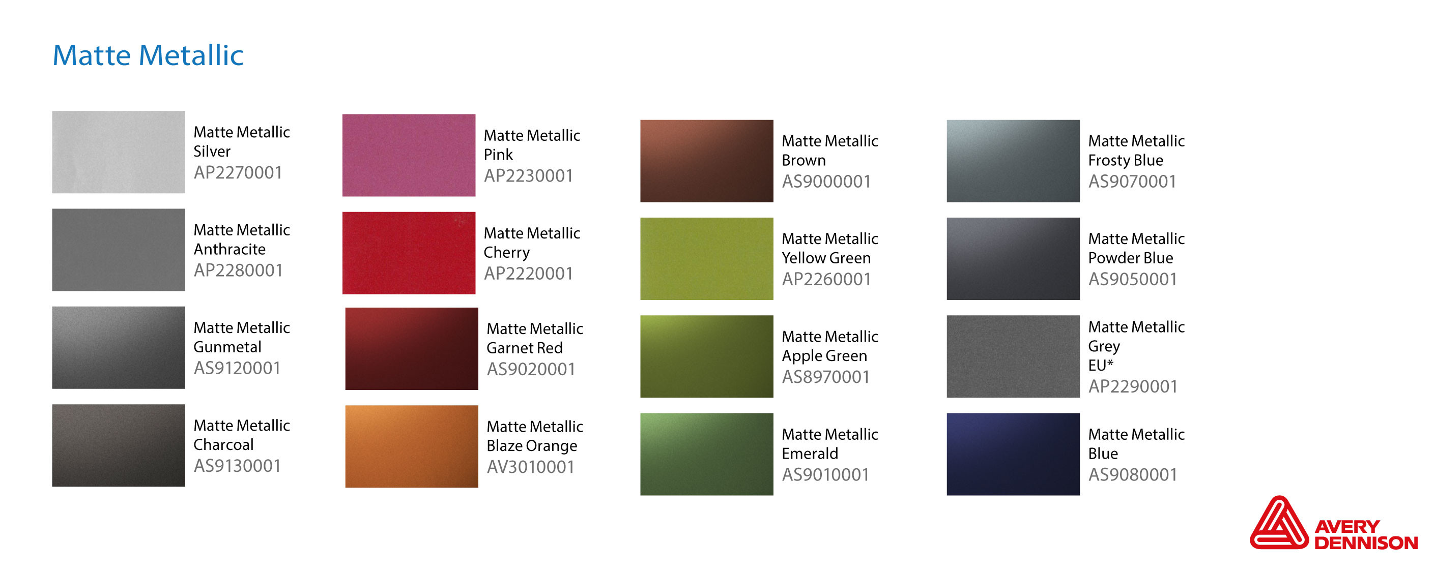 Avery vehicle wrap range colours 9