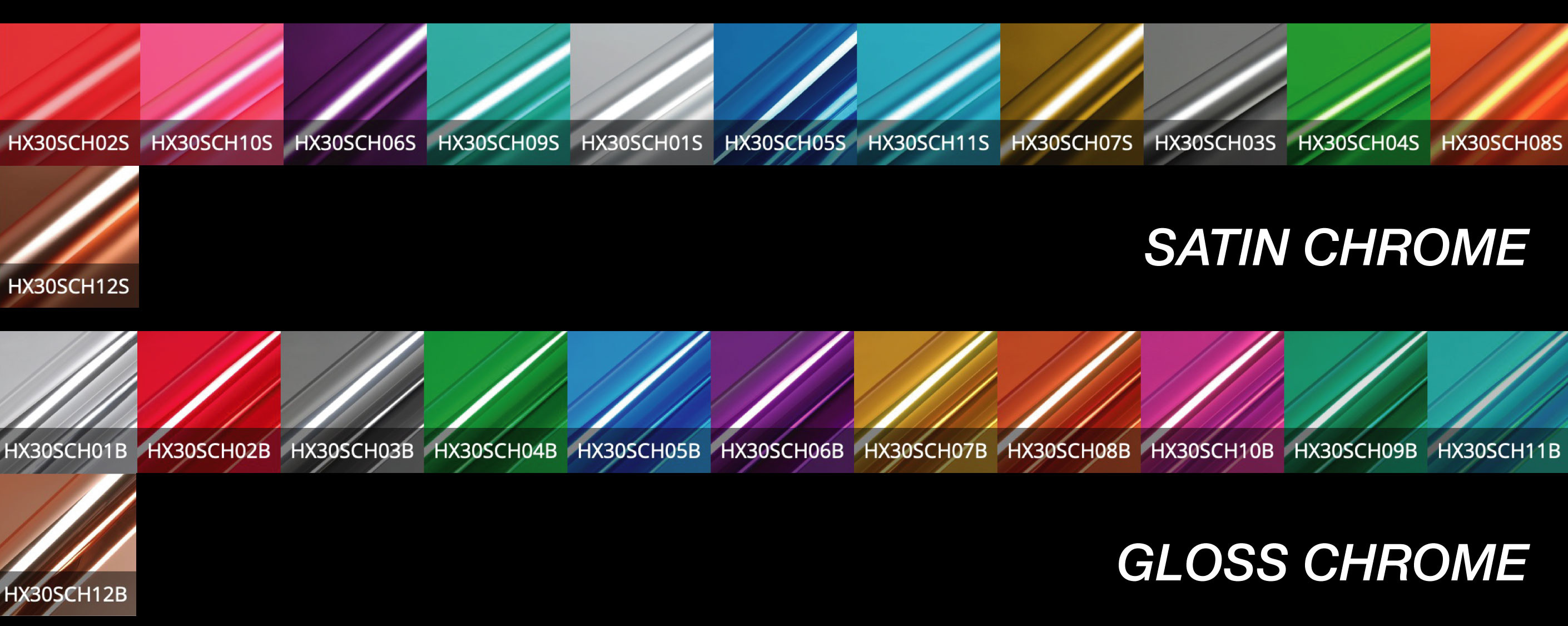 hexis chrome car wrap colour range uk